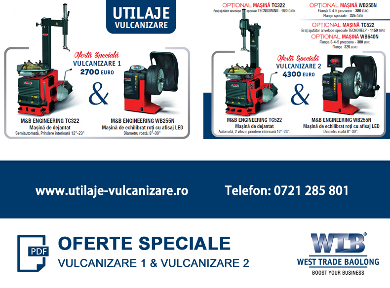 Oferta utilaje vulcanizare West Trade Baolong